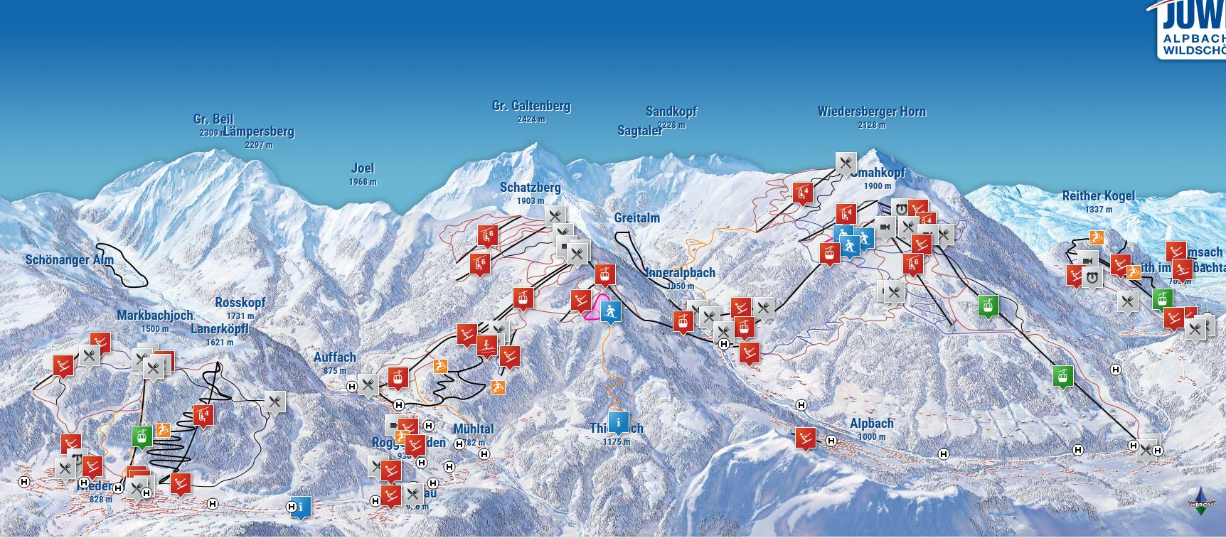Pistenkaart Skijuwel Alpbach