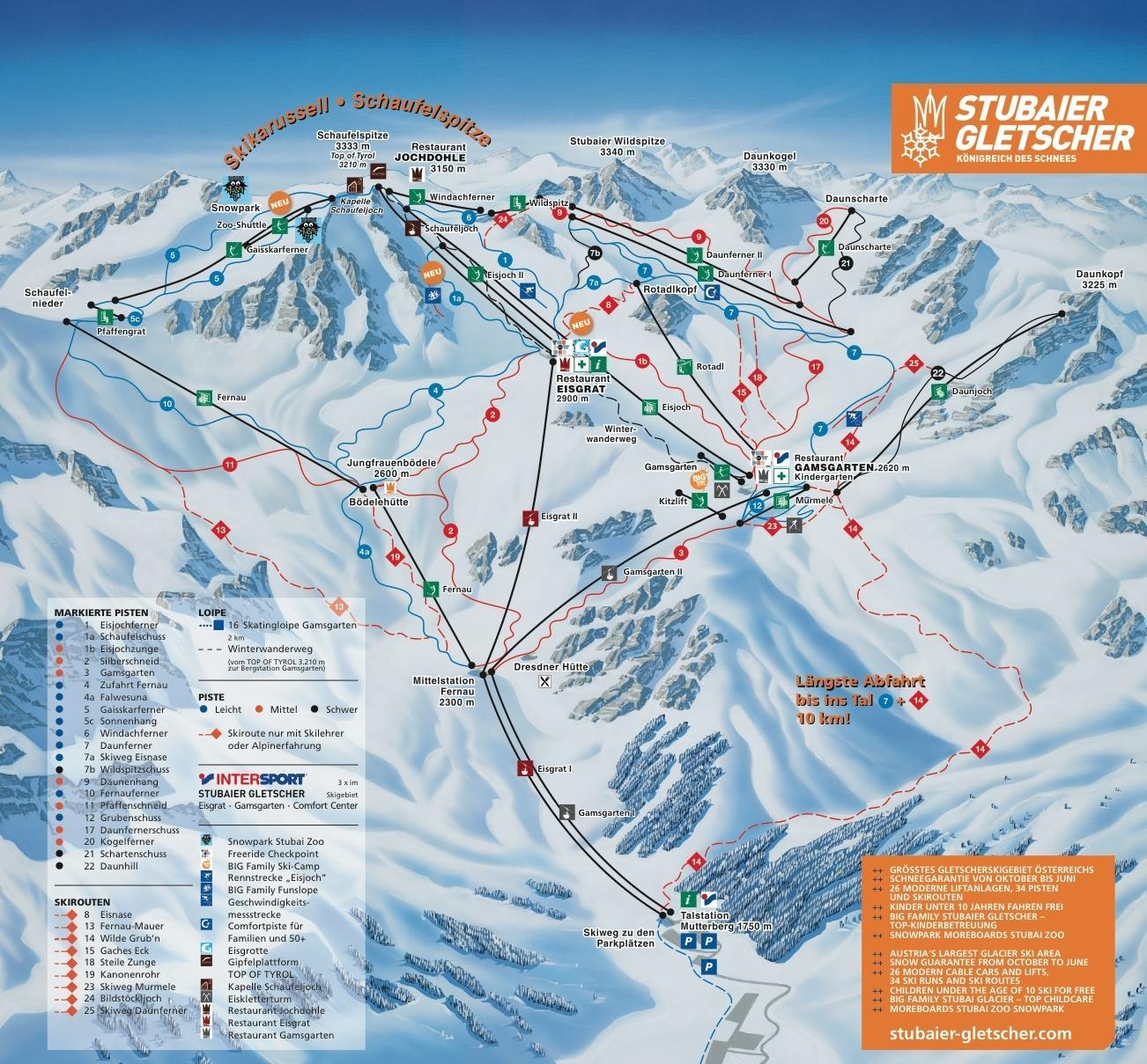 Pistekaart Stubaier gletsjer