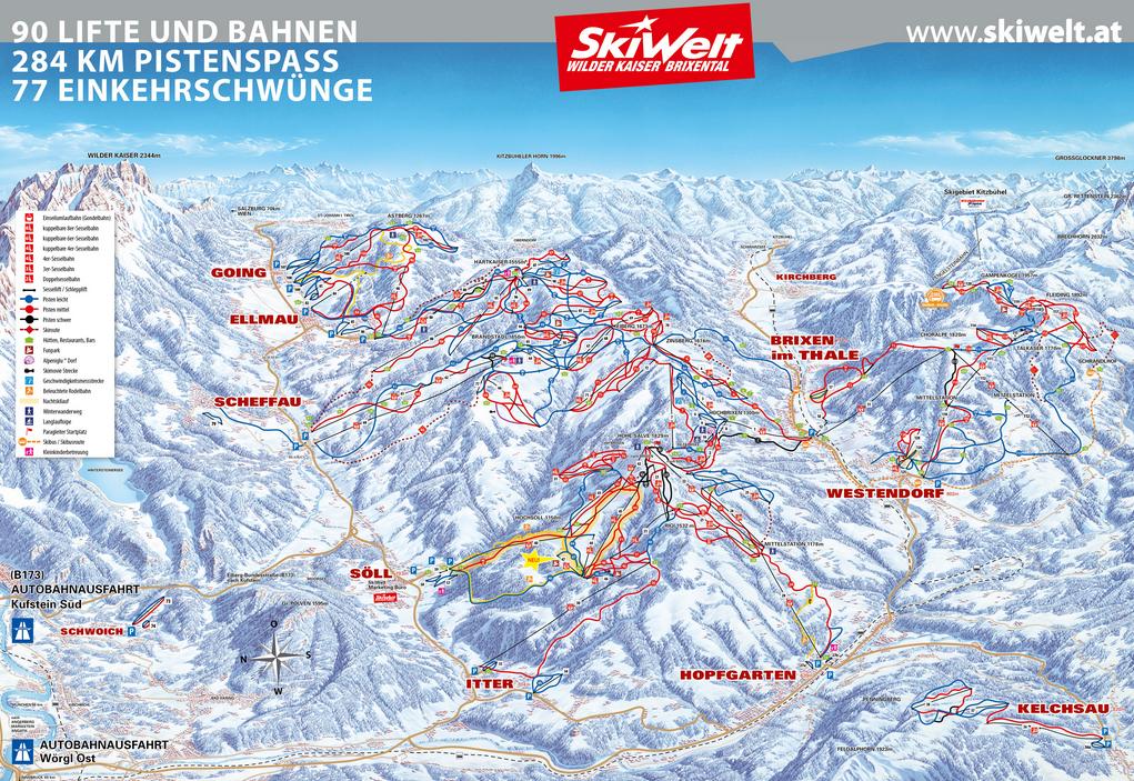 Pistekaart Skiwelt