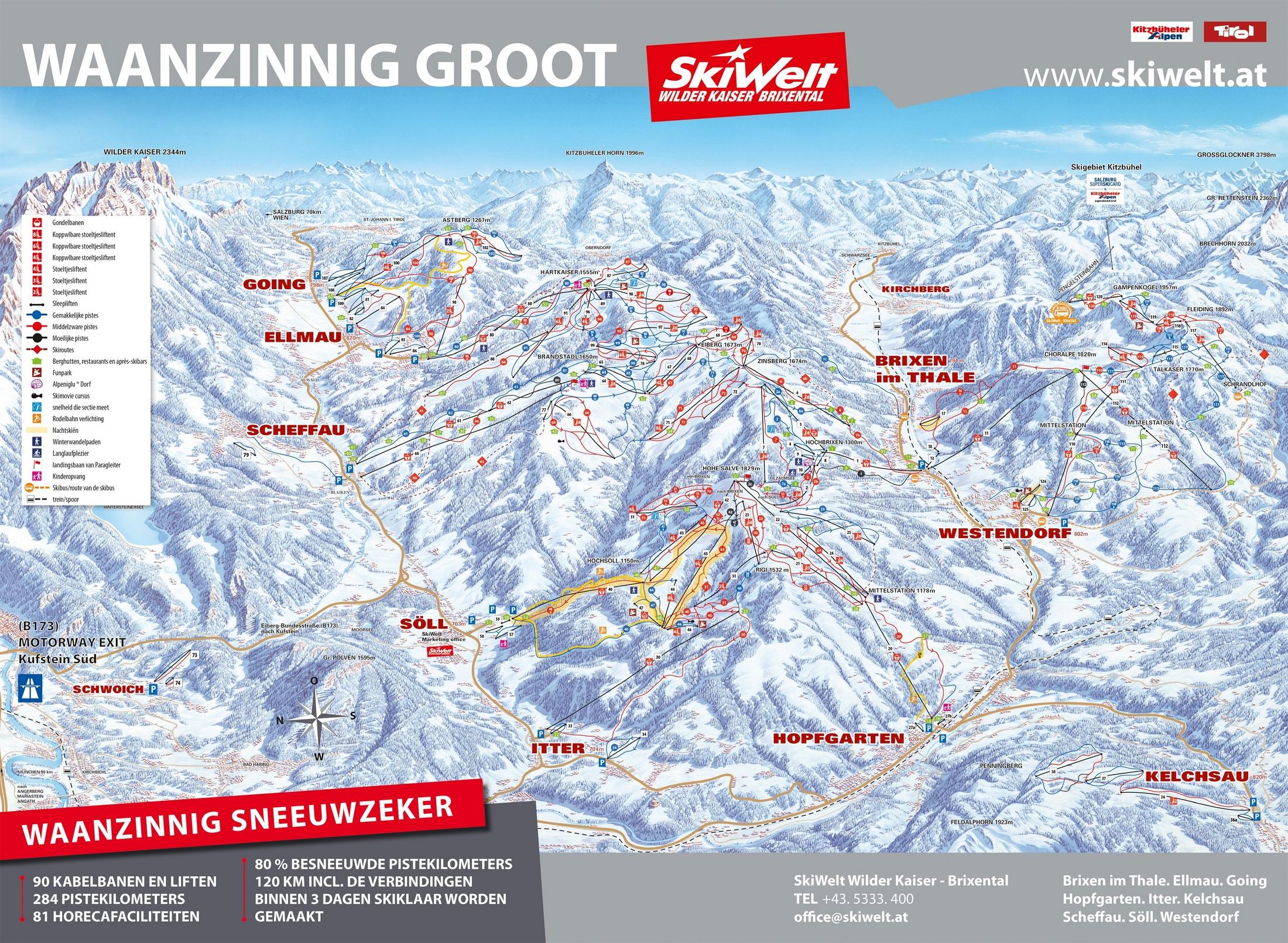 Pistkaart SkiWelt Wilderkaiser Brixental 2019/20