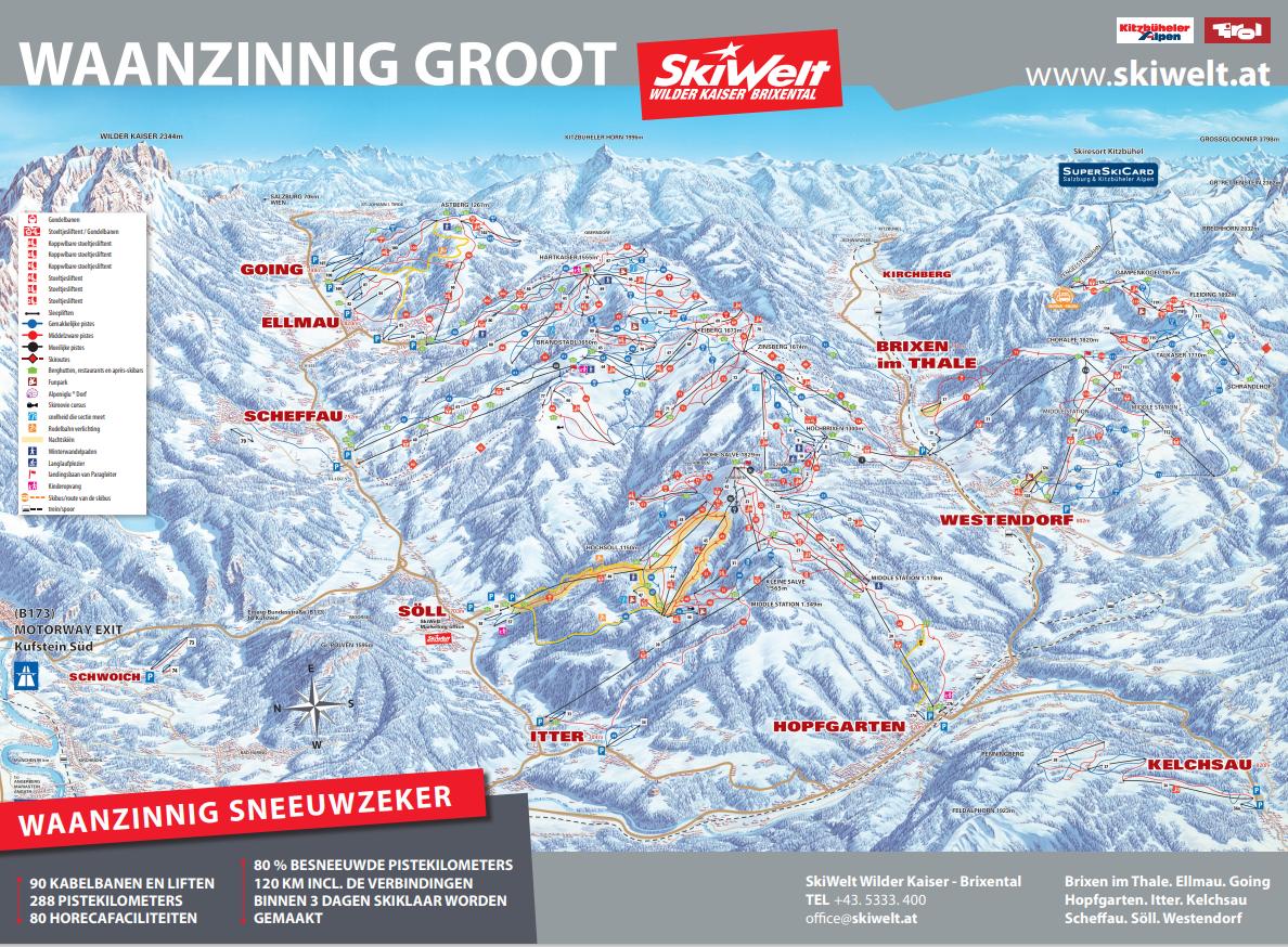 SkiWelt Wilderkaiser - Brixental Pistekaart 2020 - 2021